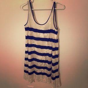 BCBGmaxazria striped lace tank dress